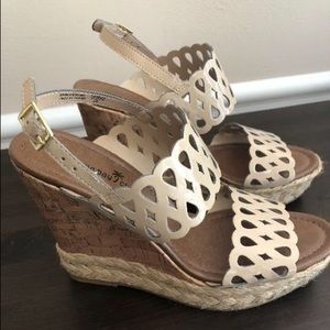 Tan Lattice Wedge Sandals